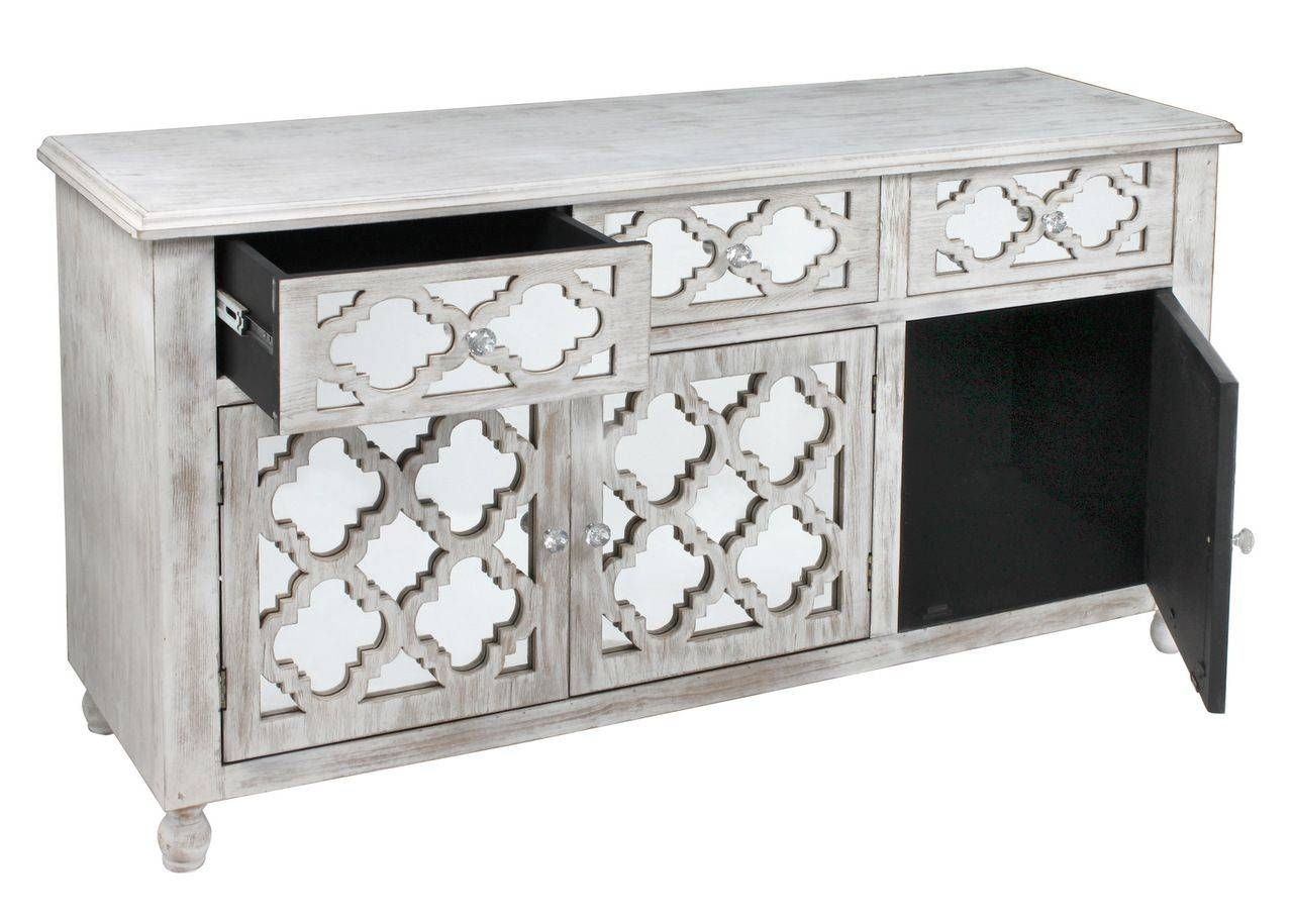 Style Washed Wood Low Sideboard With Mirrored Drawers in White Mirrored Sideboards (Image 25 of 30)