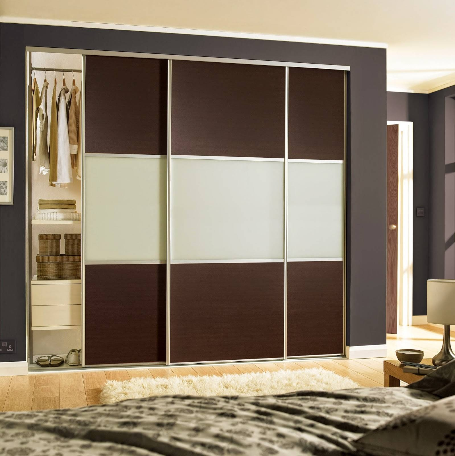 Stylish 3 Door Sliding Wardrobe With Cream Glass Finish regarding Cream Gloss Wardrobes Doors (Image 11 of 15)