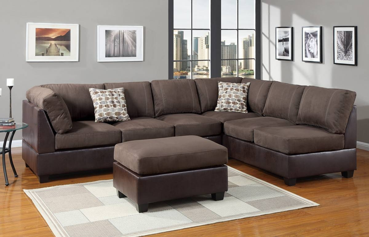 Suede Sectional Leather Sofas: 13 Cool Suede Sectional Sofa with regard to Leather and Suede Sectional Sofa (Image 24 of 25)