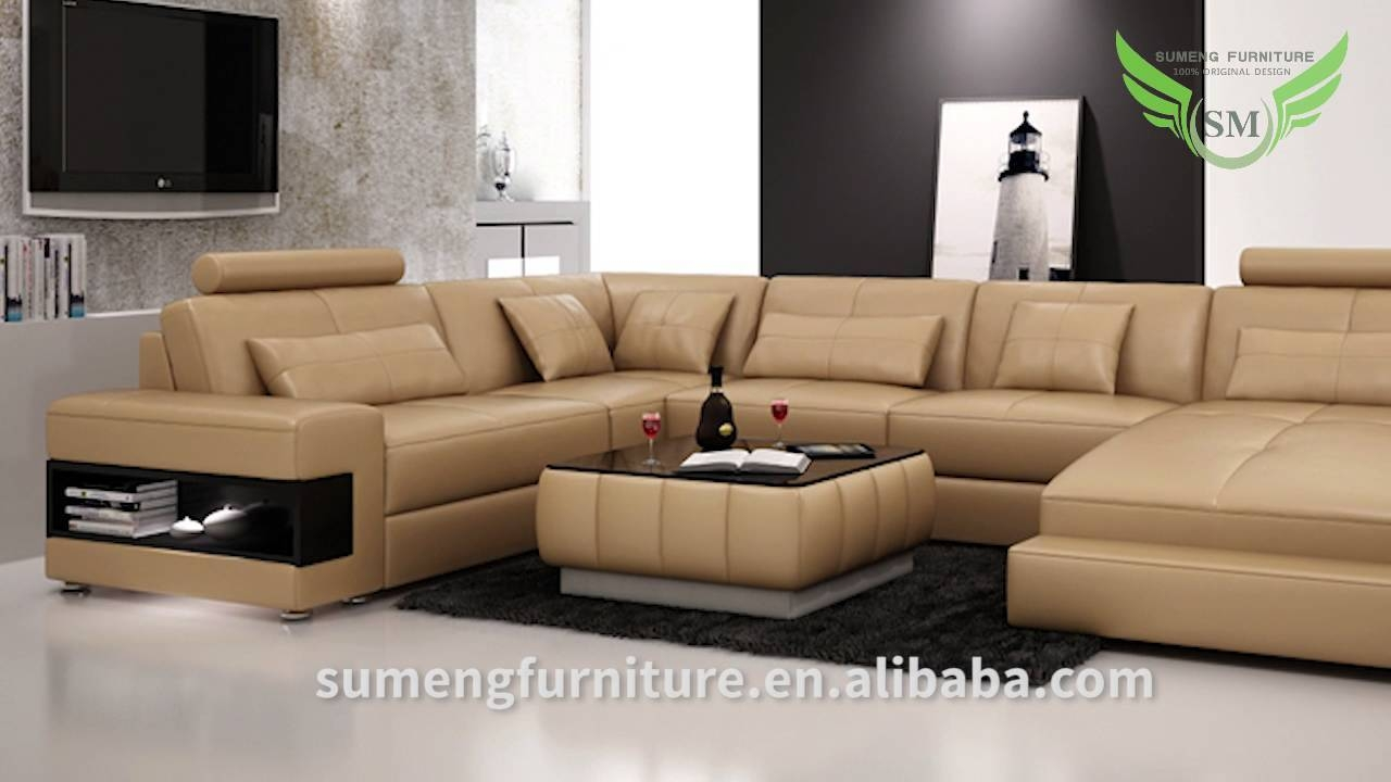 Sumeng Modern Leather U Shape Sofa - Youtube inside C Shaped Sectional Sofa (Image 25 of 30)