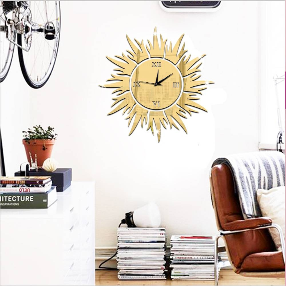 Sun Shaped Wall Clock Promotion-Shop For Promotional Sun Shaped regarding Large Sun Shaped Mirrors (Image 19 of 25)
