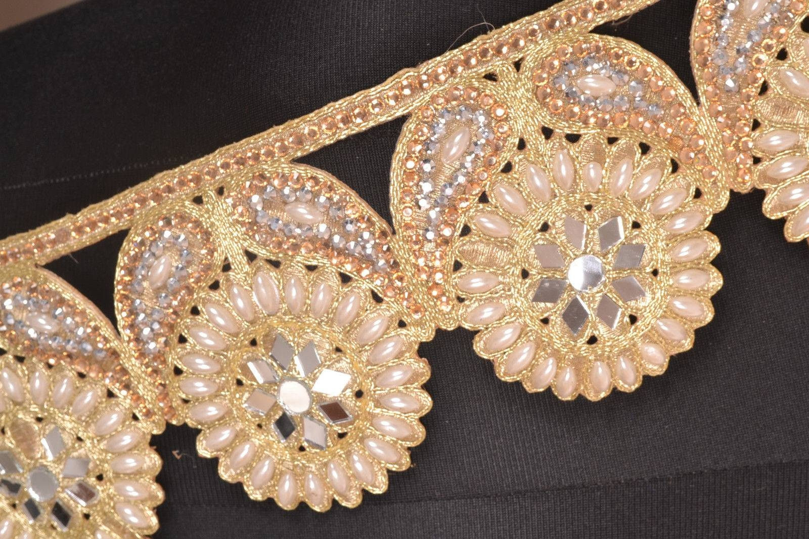 Sunflower Trim~ Hand-Beaded ~ 3 Yards ~ Swarovski, Pearls, Mirrors intended for Swarovski Mirrors (Image 24 of 25)