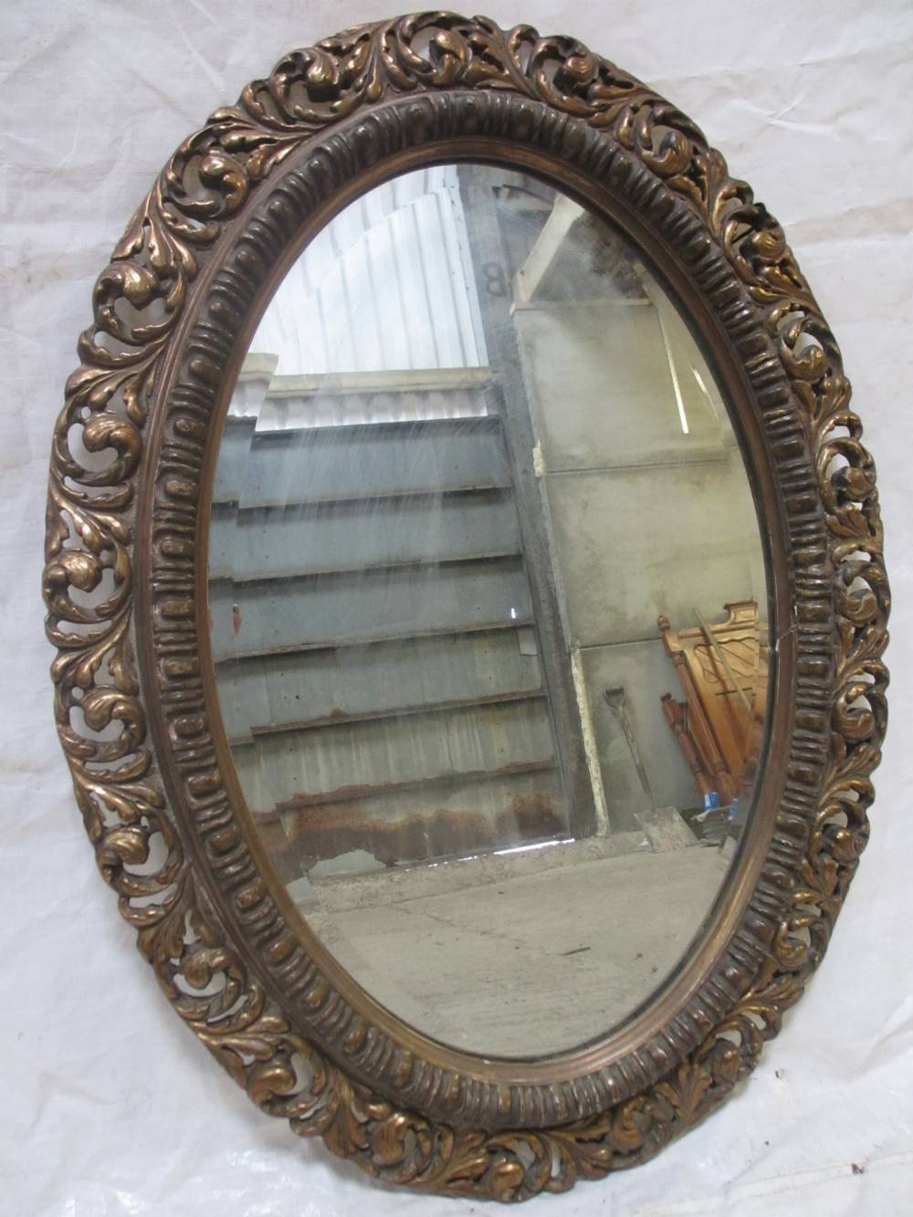 Superb 19Th Century Gilt Wood And Gesso Pierced Floral Frame Oval for Gilt Edged Mirrors (Image 23 of 25)