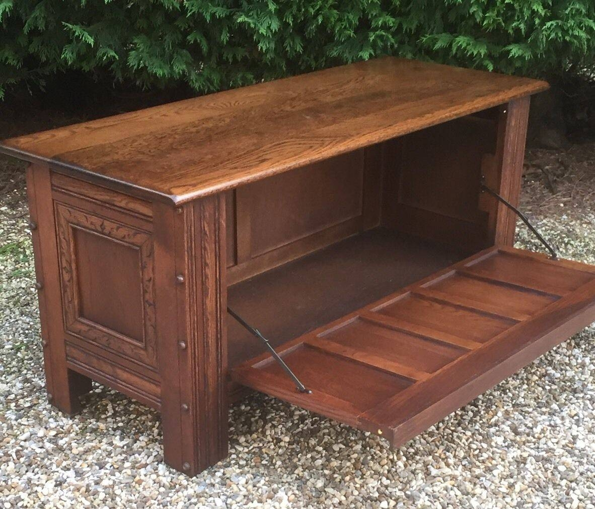 Superb Carved Oak Old Charm Rug Toy Chest/blanket Box/coffee Table pertaining to Blanket Box Coffee Tables (Image 26 of 30)