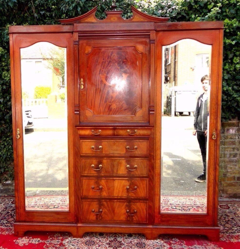 Superb Large Signed Maples London Victorian Antique Inlaid with Antique Breakfront Wardrobe (Image 23 of 30)