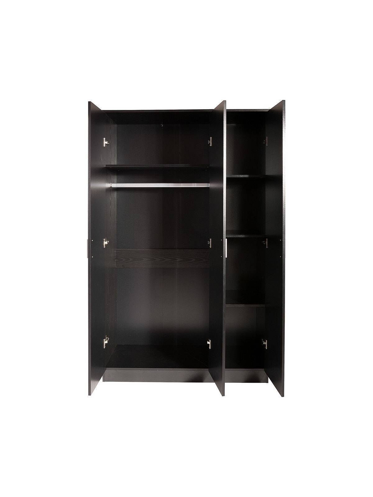 Supreme High Gloss 3 Door Wardrobes With Shelves Black Oak Walnut within Wardrobes With Shelves (Image 21 of 30)