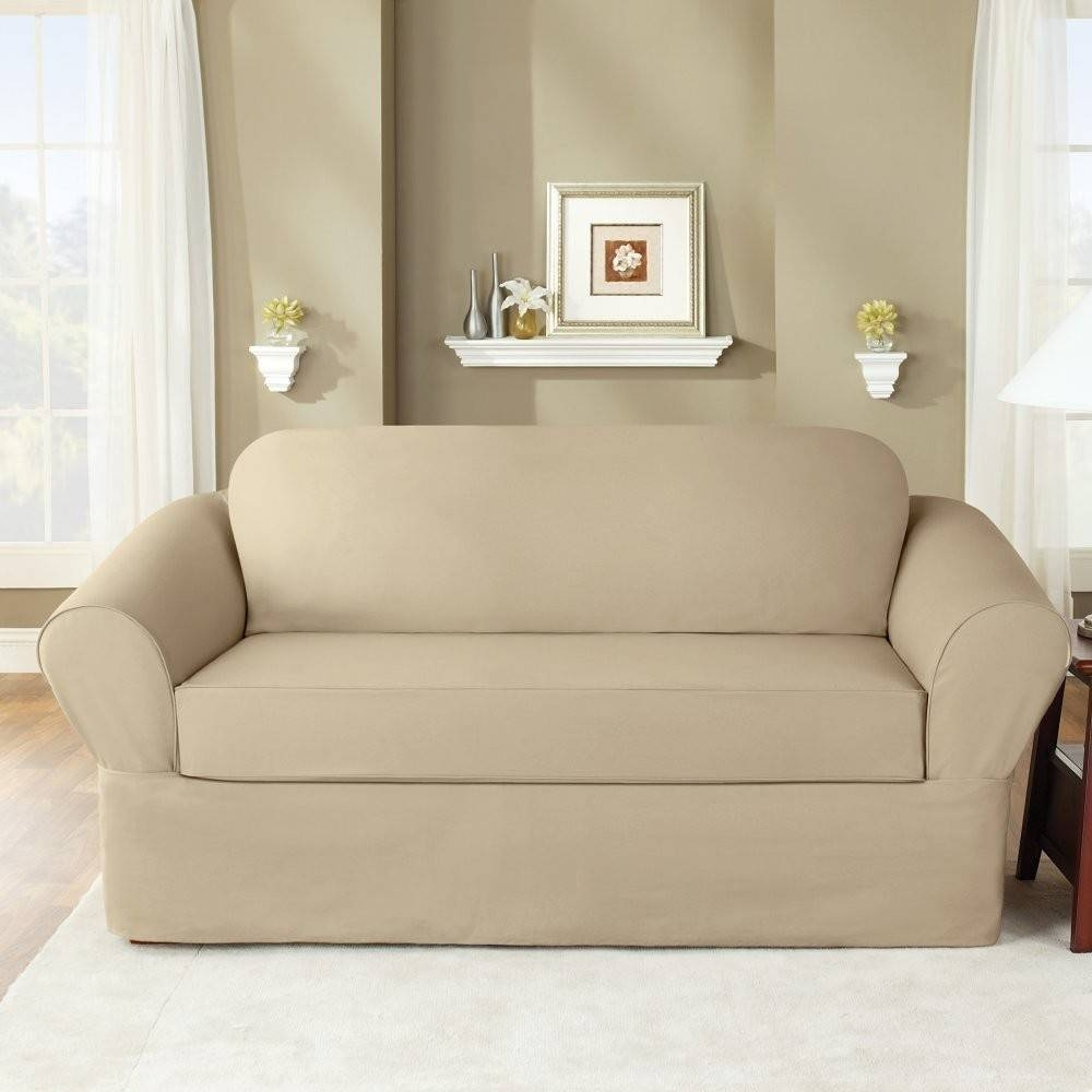 Sure Fit Slipcovers Twill Supreme 2-Piece Sofa Slipcover Flax in 2 Piece Sofa Covers (Image 22 of 30)
