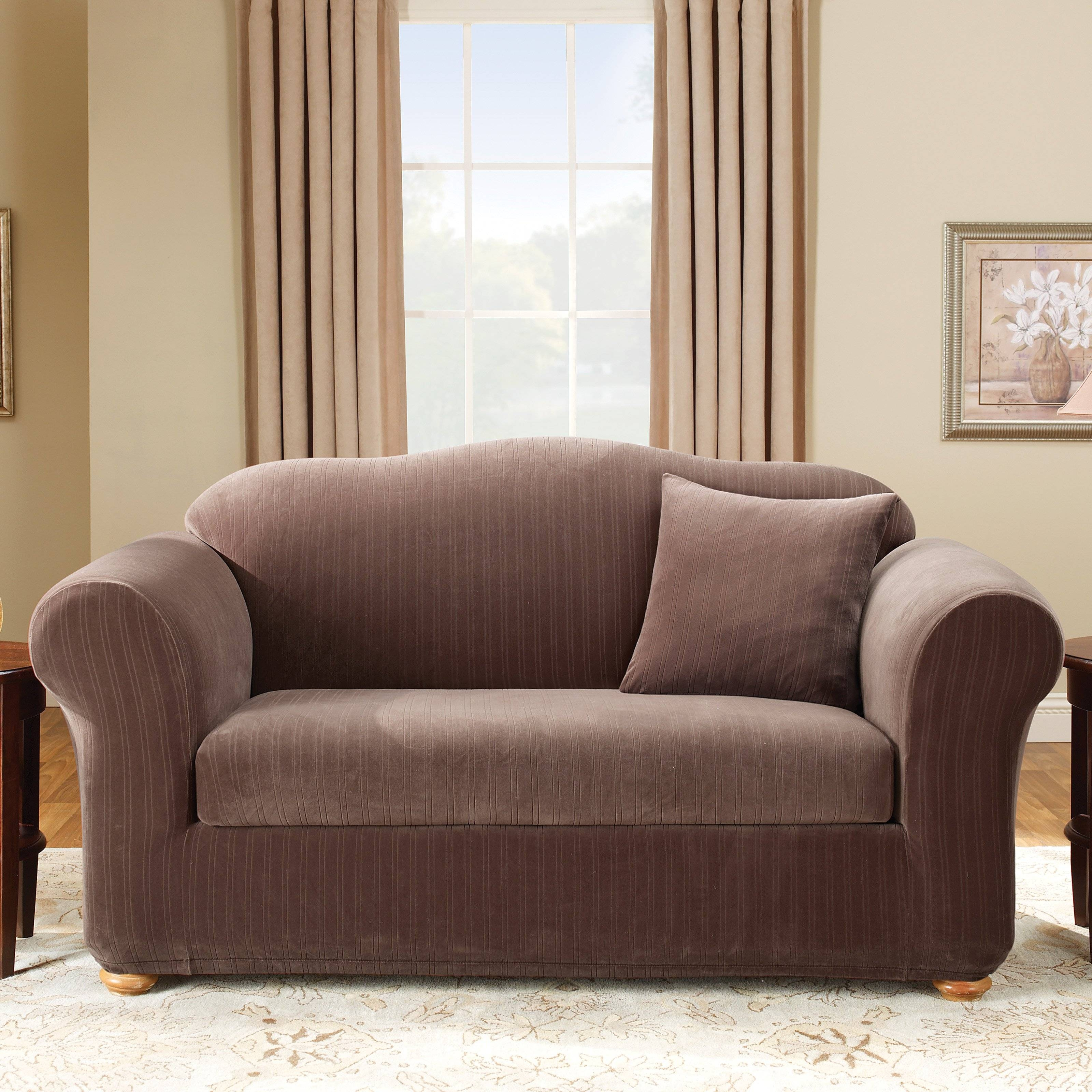 Sure Fit Stretch Pinstripe 2 Piece Sofa Slipcover - Walmart regarding 2 Piece Sofa Covers (Image 24 of 30)