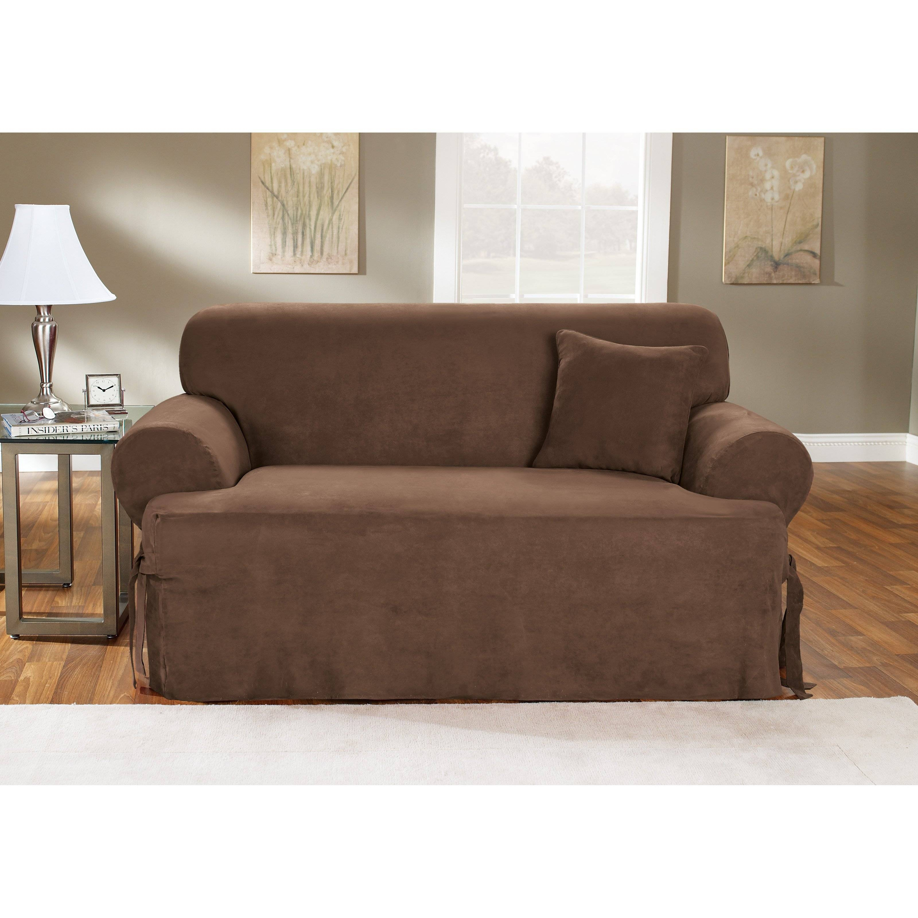 Sure Fit Stretch Pique T-Cushion Two Piece Sofa Slipcover | Hayneedle intended for 2 Piece Sofa Covers (Image 26 of 30)