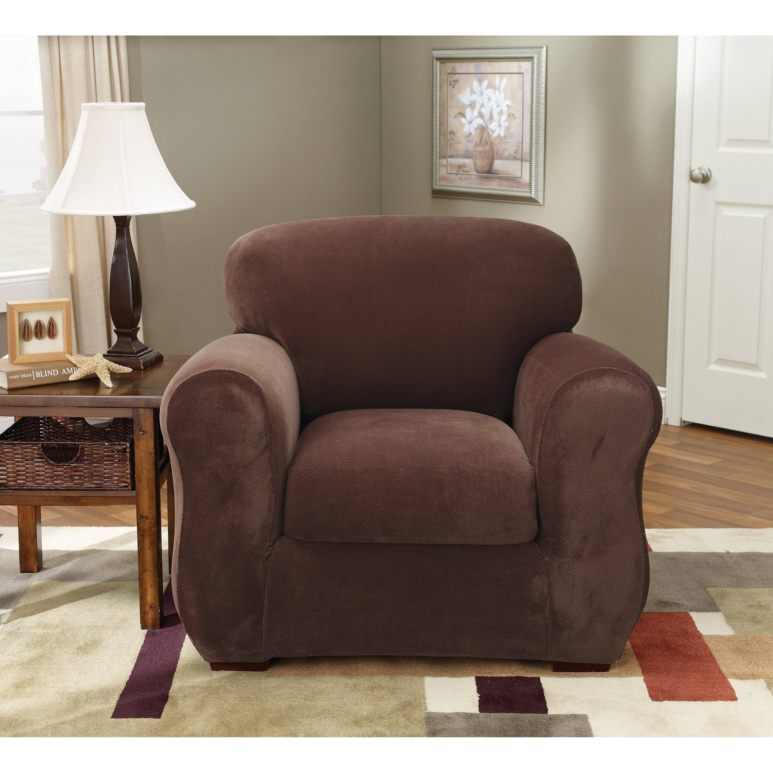 Sure Fit Stretch Pique T-Cushion Two Piece Sofa Slipcover | Hayneedle within 2 Piece Sofa Covers (Image 27 of 30)