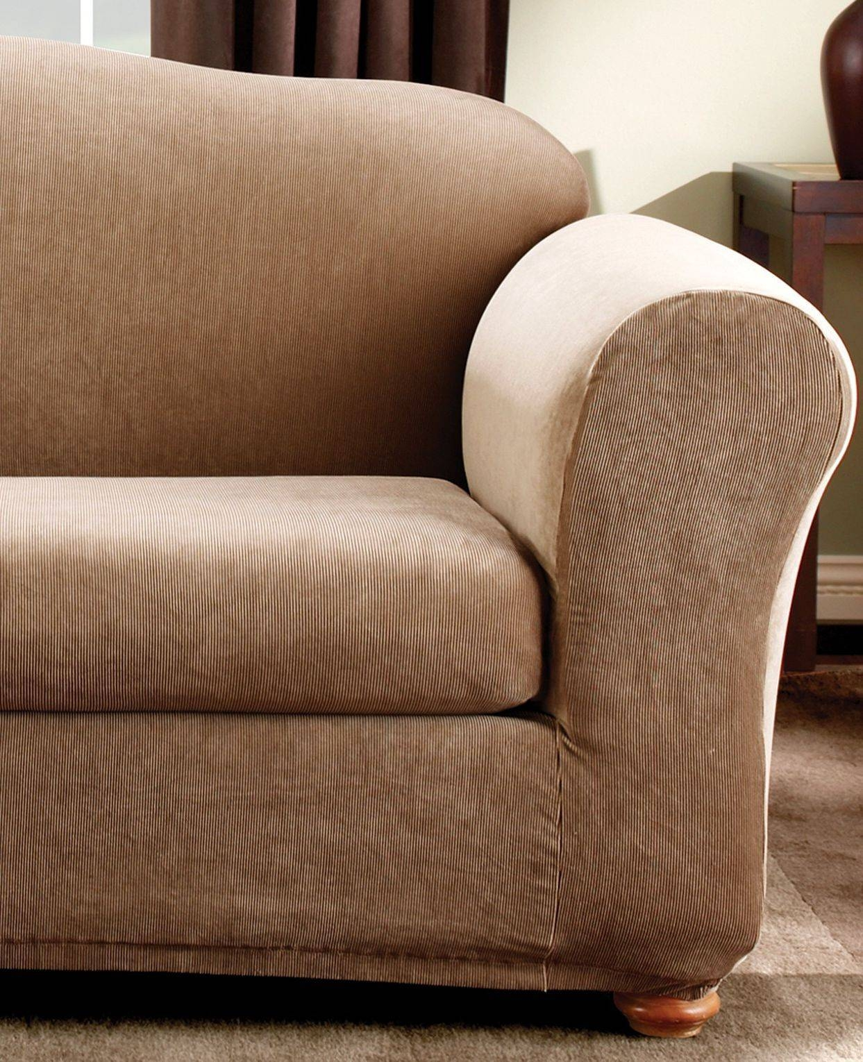 Sure Fit Stretch Stripe 2-Piece Loveseat Slipcover Sand in 2 Piece Sofa Covers (Image 28 of 30)