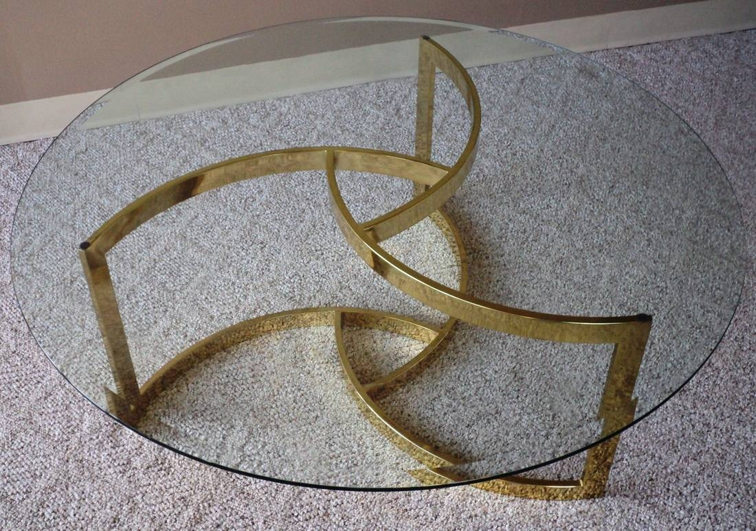 Swirled Brass & Glass Coffee Table - Julesmoderne within Swirl Glass Coffee Tables (Image 21 of 30)
