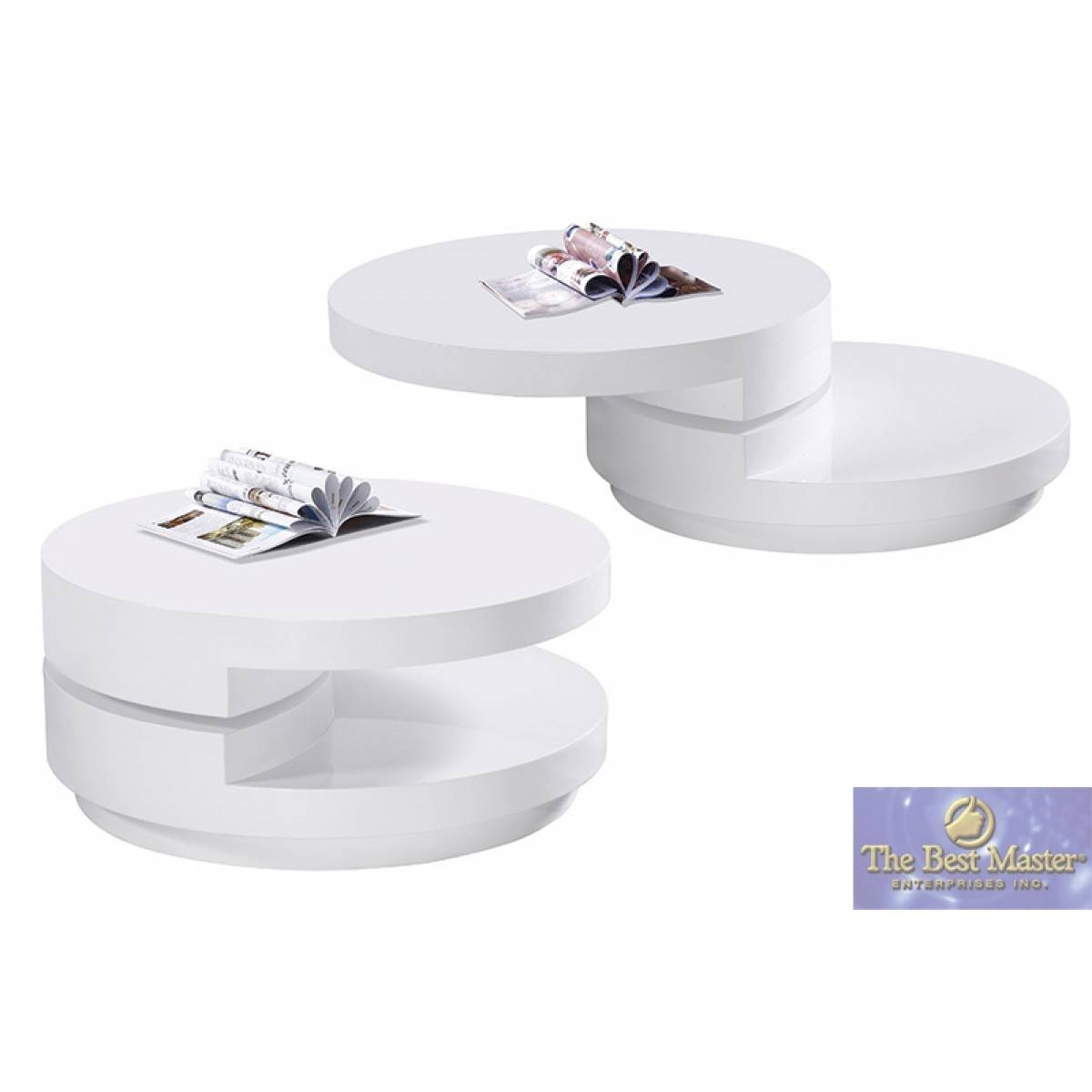 Swivel Round Coffee Table In White Lacquerbest Master   Tr-10 throughout Round Swivel Coffee Tables (Image 25 of 30)