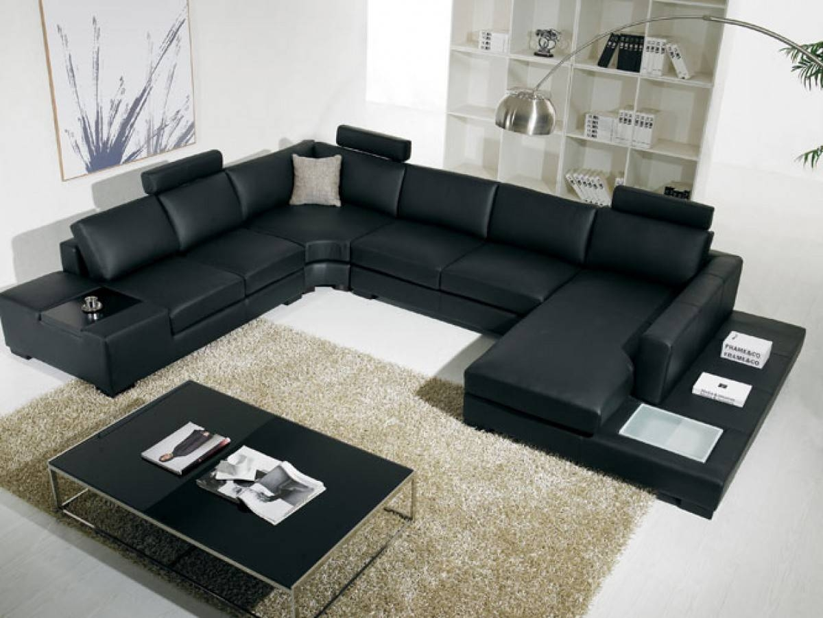 T35 Modern Black Leather Sectional Living Room Furniture regarding Sofas With Lights (Image 30 of 30)