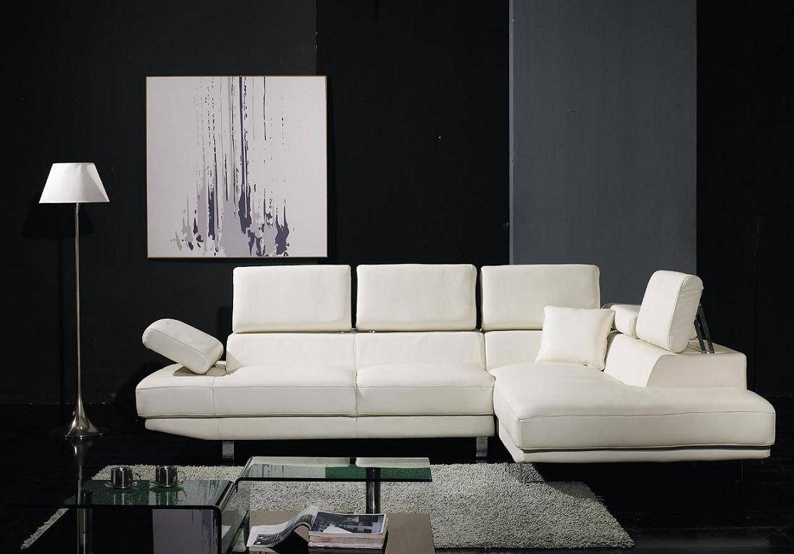 T60 - Ultra Modern White Leather Sectional Sofa inside Sleek Sectional Sofa (Image 22 of 25)
