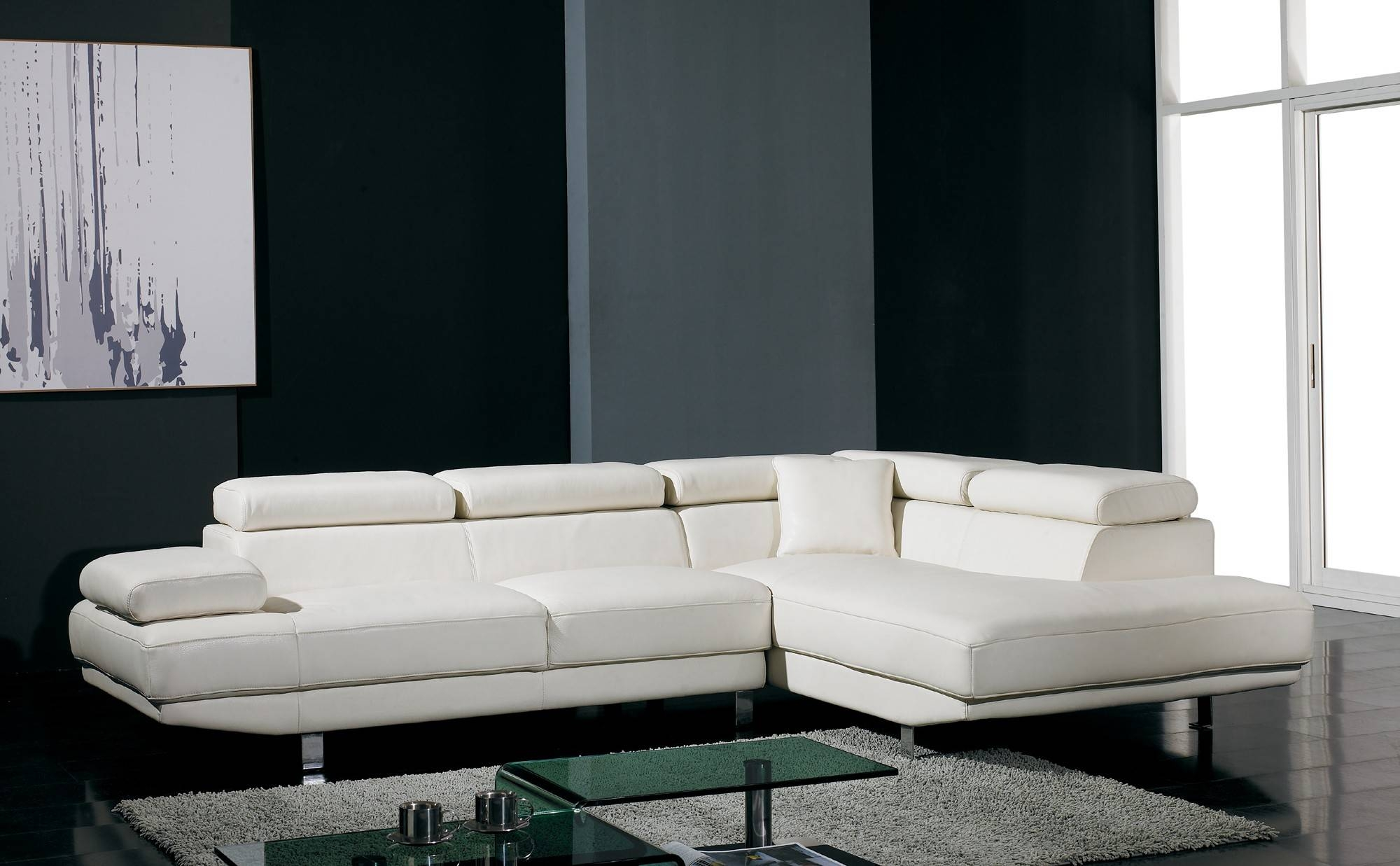 T60 Ultra Modern White Leather Sectional Sofa within White Modern Sofas (Image 25 of 30)