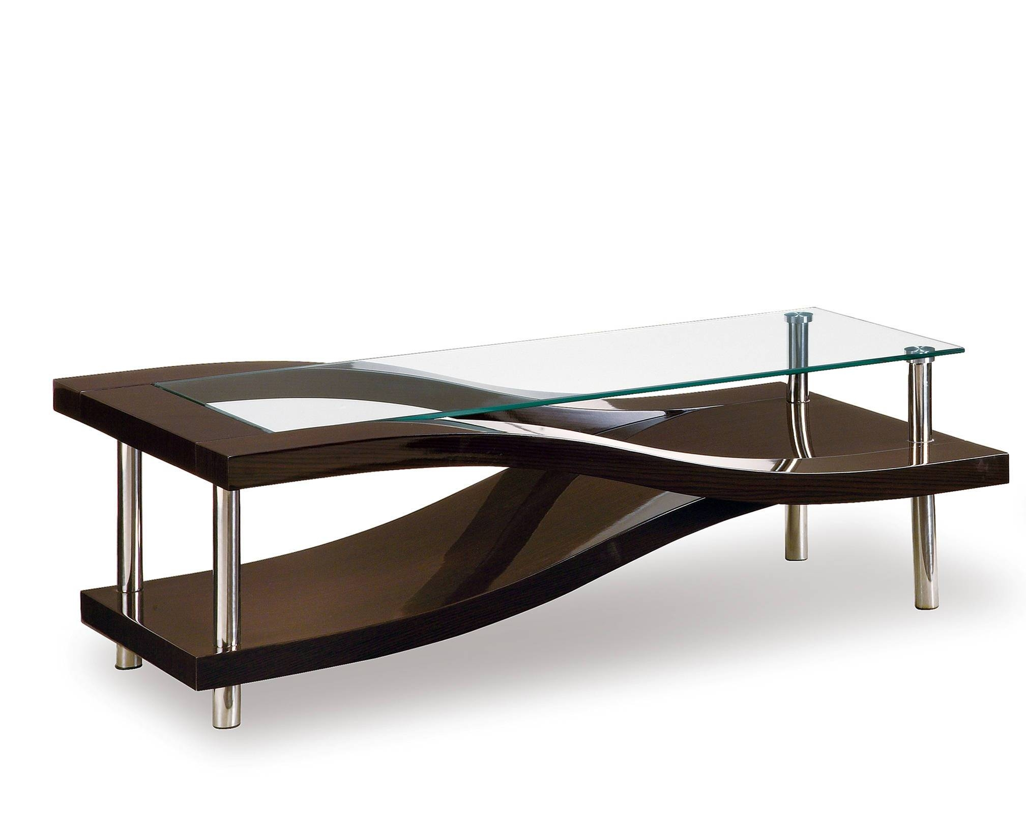 T759 Series Modern Wenge Glass Mdf Wood Metal Coffee Table with regard to Metal Coffee Tables (Image 30 of 30)
