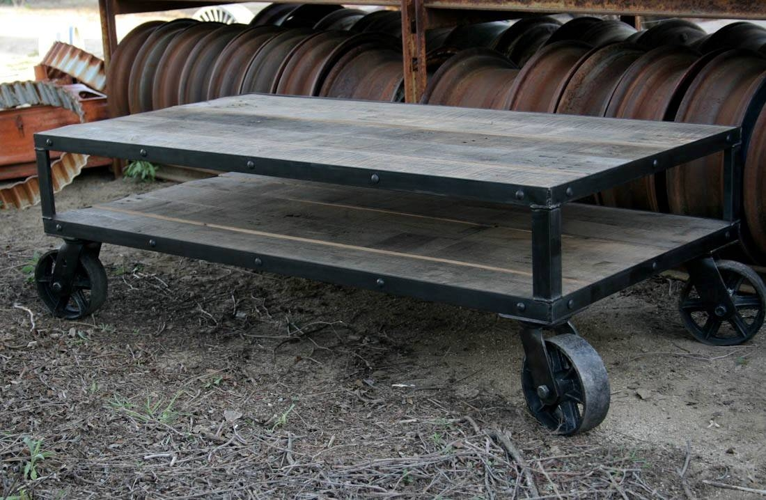 Table. Industrial Coffee Table With Wheels - Home Interior Design within Rustic Coffee Table With Wheels (Image 27 of 30)