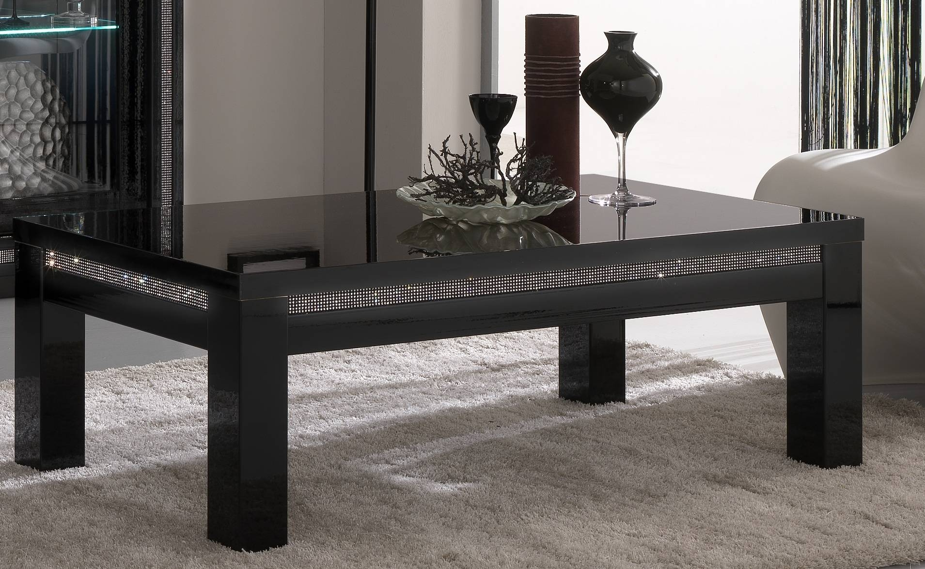 Table : Modern Black Glass Coffee Table Craftsman Medium Modern within Black Glass Coffee Tables (Image 29 of 30)