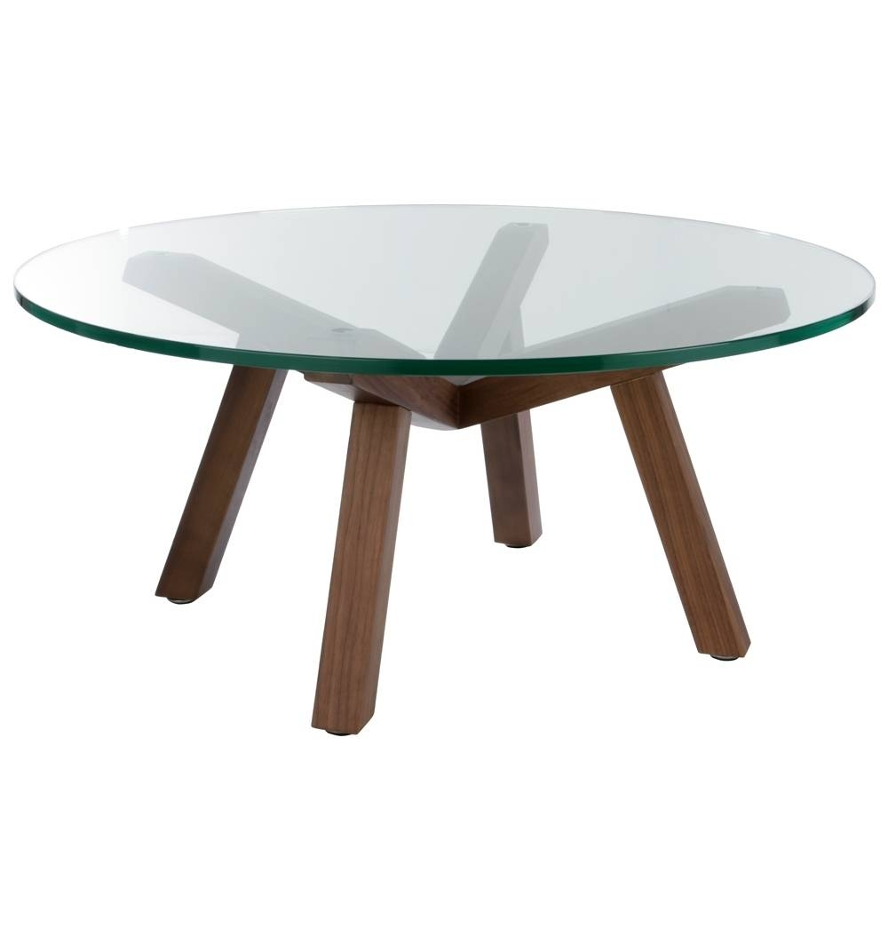 Table : Round Glass Coffee Table With Wood Base Transitional regarding Circular Glass Coffee Tables (Image 28 of 30)
