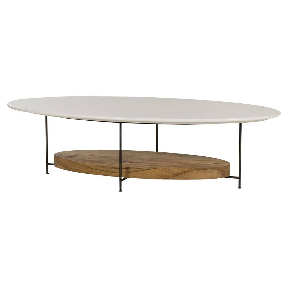 Tagg Lodge White Lacquer Oval Oak Coffee Table | Kathy Kuo Home pertaining to White And Oak Coffee Tables (Image 28 of 30)