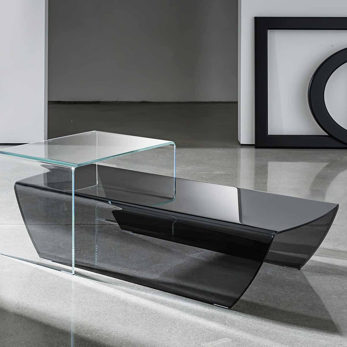 Taky Curved Glass Coffee Table - Klarity - Glass Furniture inside Curved Glass Coffee Tables (Image 26 of 30)