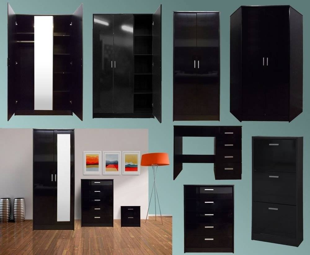 Tall White Gloss Wardrobes High Bedroom Furniture Ebay Black for Cheap Black Gloss Wardrobes (Image 9 of 15)
