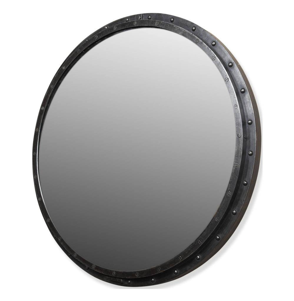 Taloro Large Industrial Loft Porthole Style Mirror | Kathy Kuo Home pertaining to Porthole Style Mirrors (Image 22 of 25)