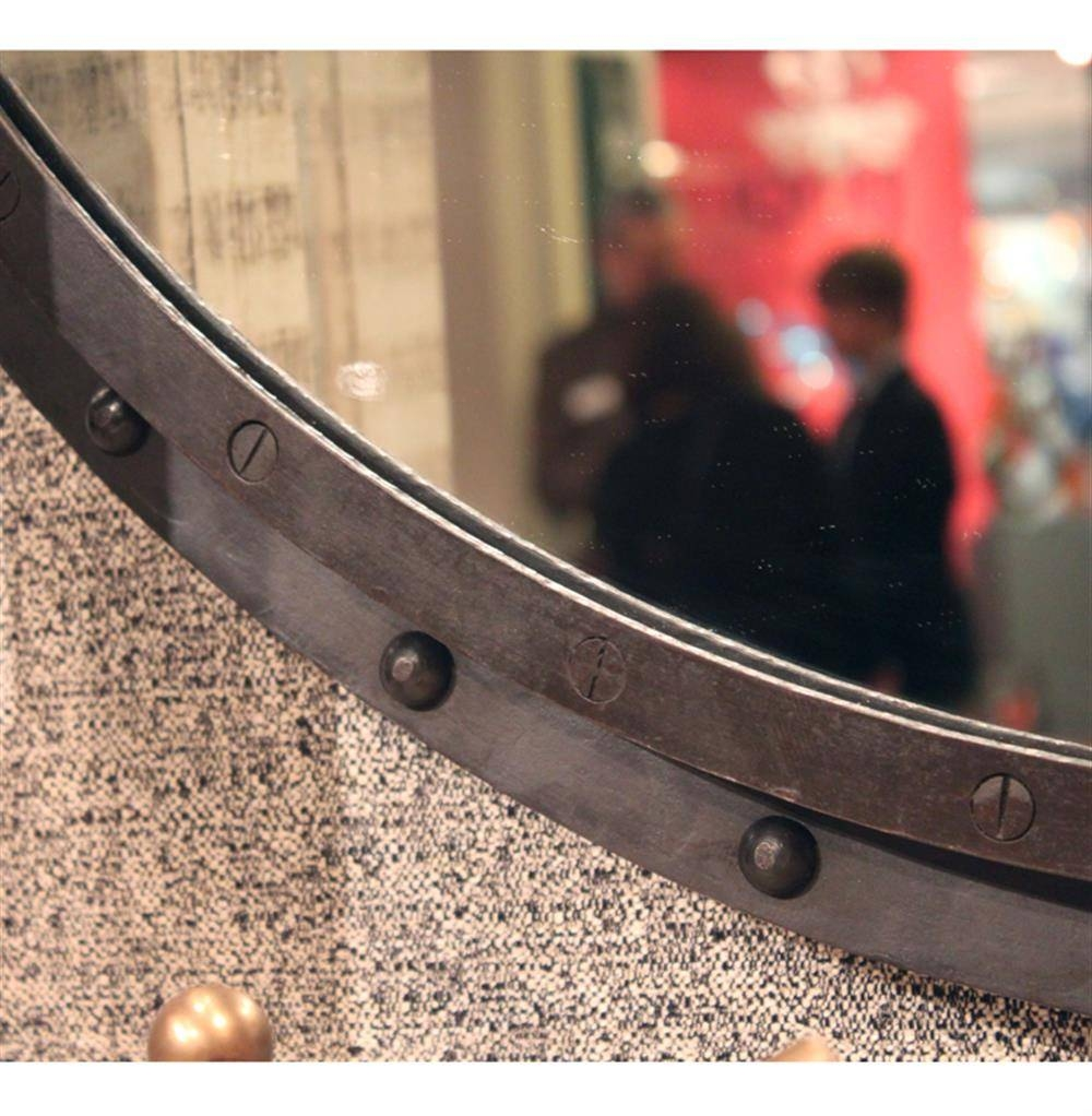 Taloro Small Industrial Loft Porthole Style Mirror | Kathy Kuo Home for Porthole Style Mirrors (Image 23 of 25)