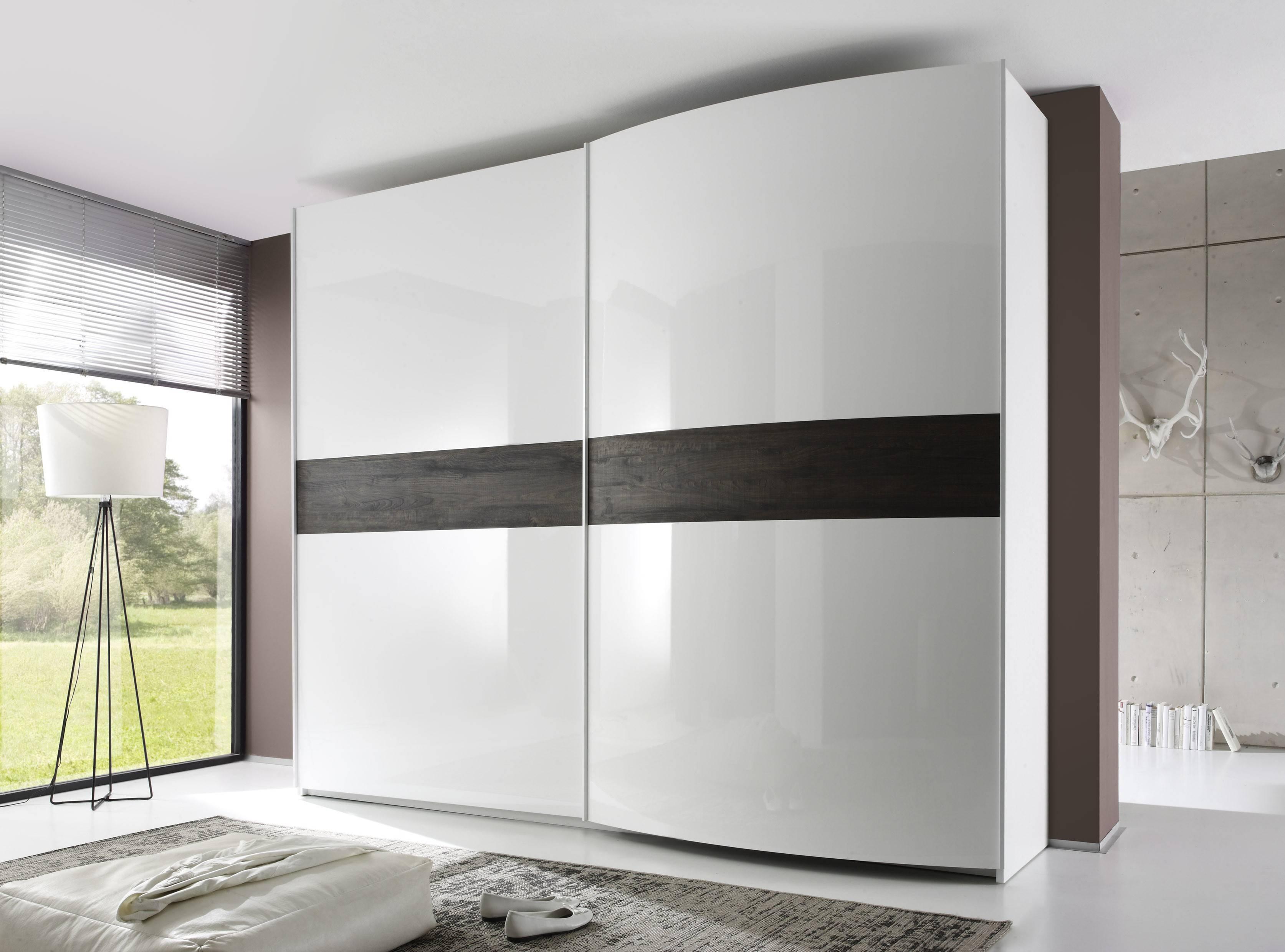 Tambura Curved Sliding Doors Wardrobe, White + Wenge Inserts Buy within Curved Wardrobe Doors (Image 23 of 30)
