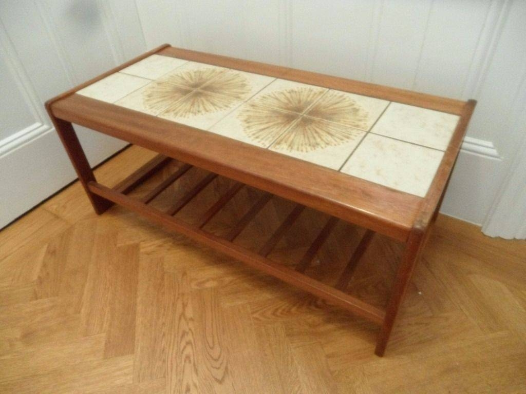 Teak Tiled Top Coffee Table Occasional Magazine Rack Danish Style within Coffee Tables With Magazine Rack (Image 21 of 30)