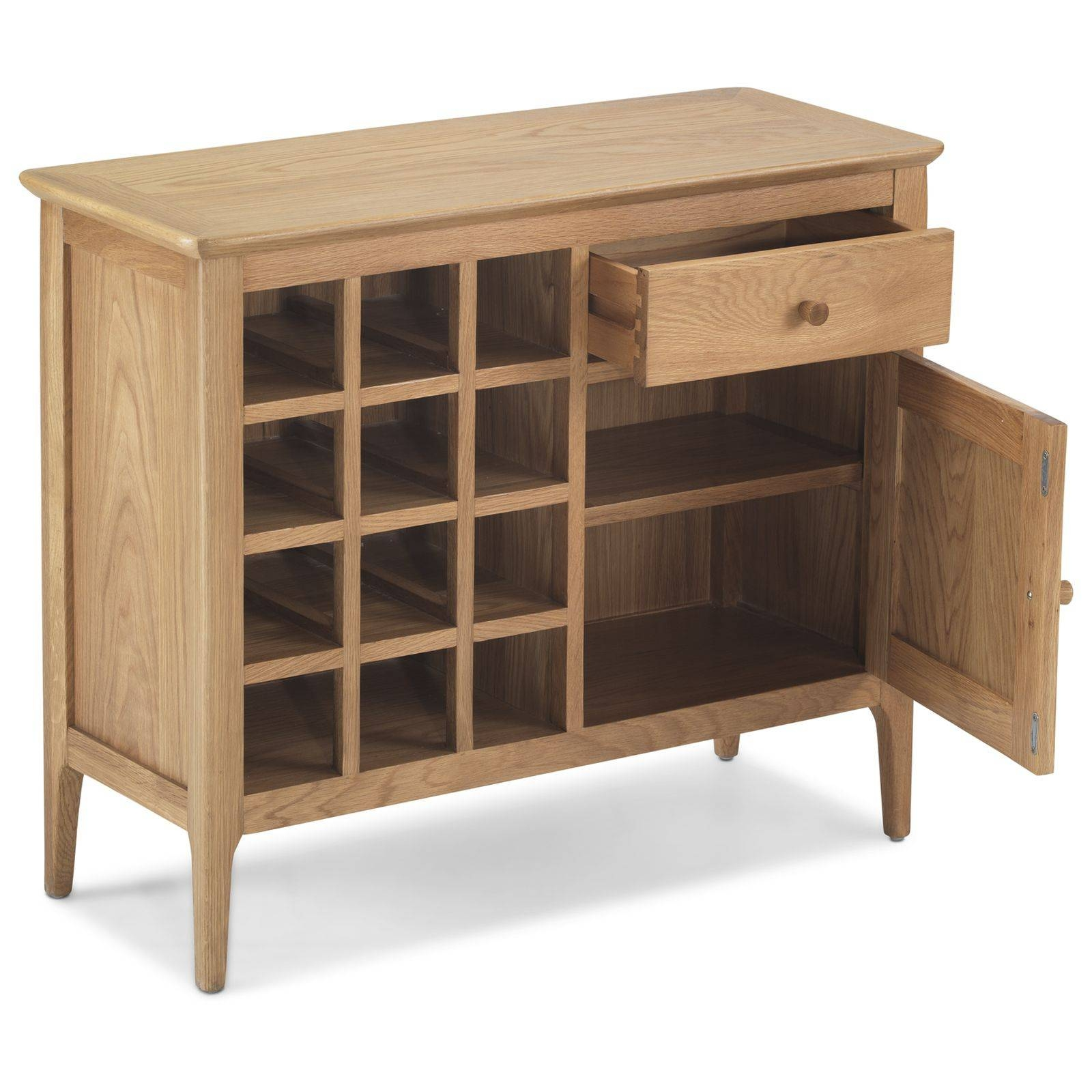 Telford Solid Oak Furniture Small Sideboard Wine Rack within Oak Sideboards With Wine Rack (Image 26 of 30)