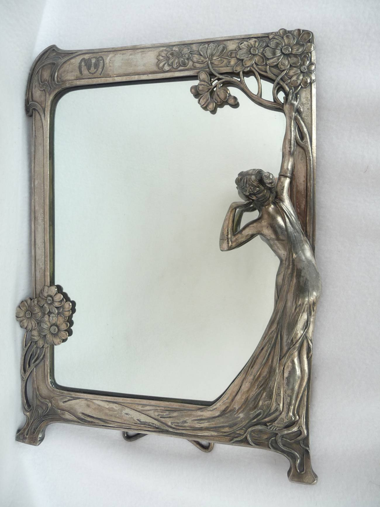 Tennants Auctioneers: An Art Nouveau Wmf Plated Figural Easel Mirror with regard to Art Nouveau Mirrors (Image 23 of 25)