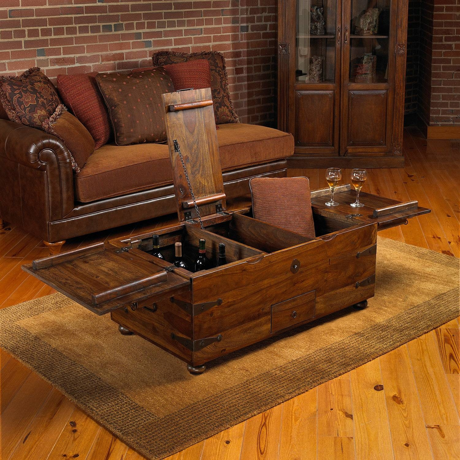 Thakat Bar Box Trunk Coffee Table - Wine Enthusiast with regard to Trunks Coffee Tables (Image 28 of 30)