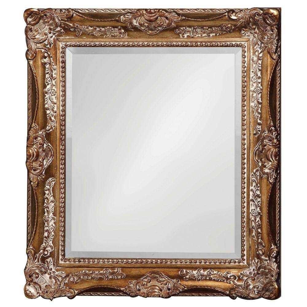 The Howard Elliott Collection 34 In. X 28 In. Antique Silver And for Silver Ornate Framed Mirrors (Image 24 of 25)