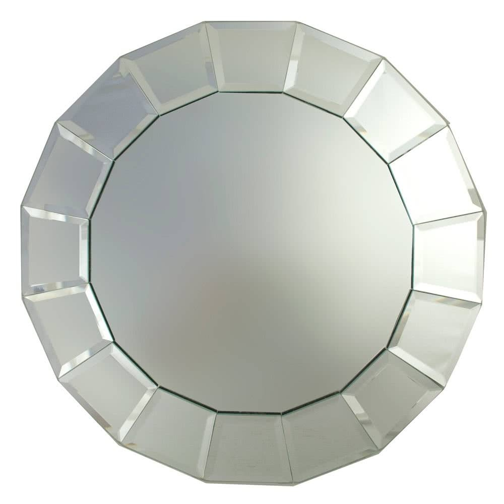 "The Jay Companies 13"" Round Beveled Block Glass Mirror Charger Plate in Round Bevelled Mirrors (Image 23 of 25)"