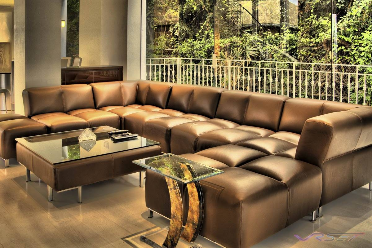The Most Popular Custom Leather Sectional Sofa 87 With Additional with regard to Diana Dark Brown Leather Sectional Sofa Set (Image 30 of 30)