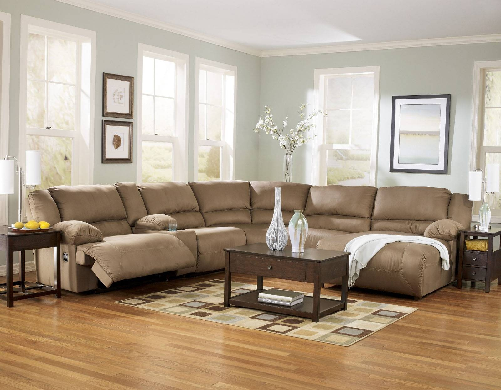 The Most Popular Fabric Sectional Sofa With Recliner 69 For Your throughout Closeout Sectional Sofas (Image 27 of 30)