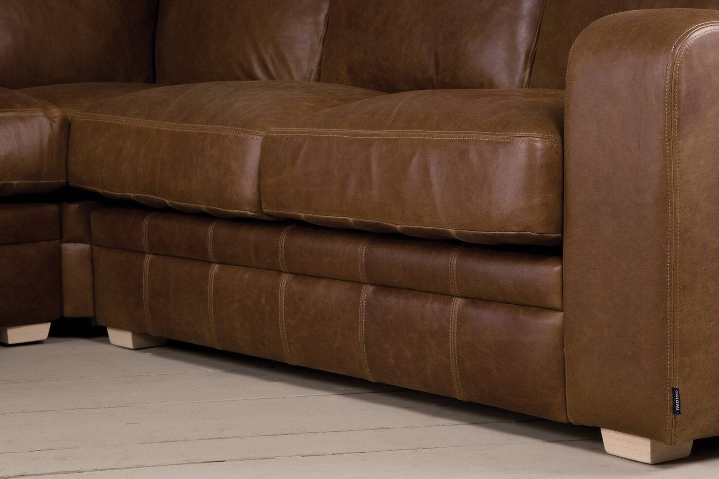 The Square Arm Leather Corner Sofaindigo Furniture regarding Corner Sofa Leather (Image 27 of 30)