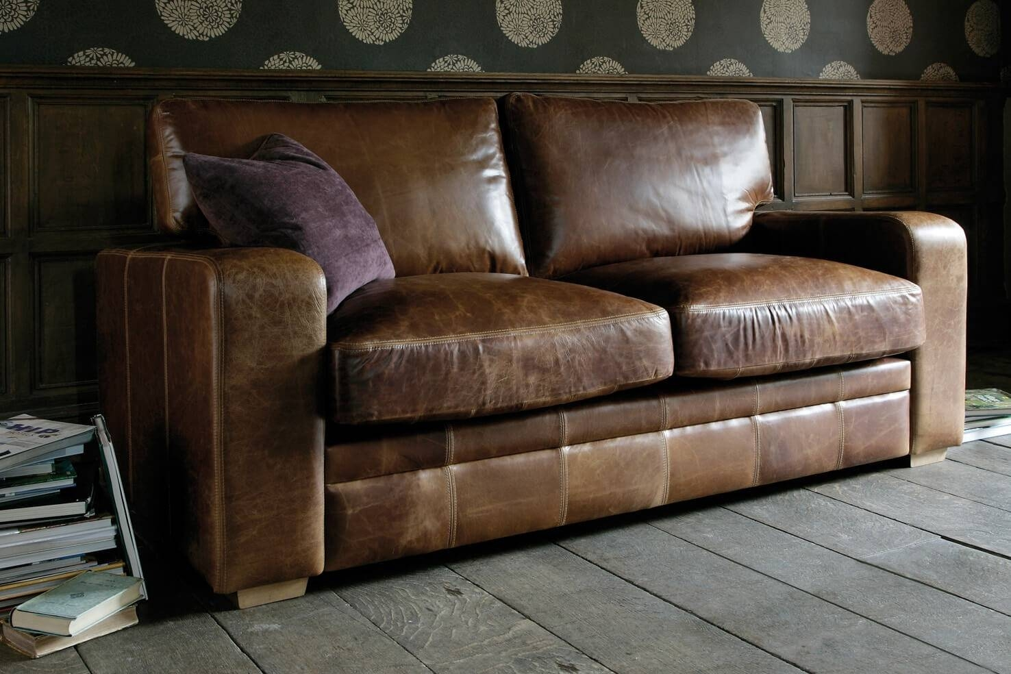 The Square Arm Leather Sofa, Handcraftedindigo Furniture in Aniline Leather Sofas (Image 27 of 30)