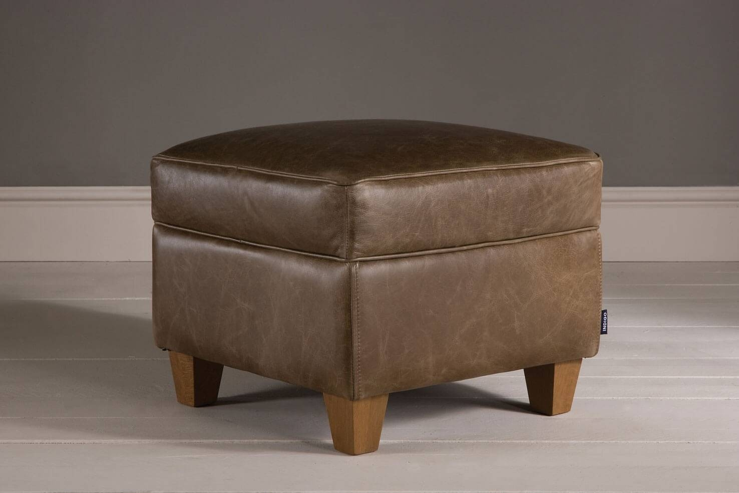 The Vintage Leather Footstoolindigo Furniture in Leather Footstools (Image 27 of 30)