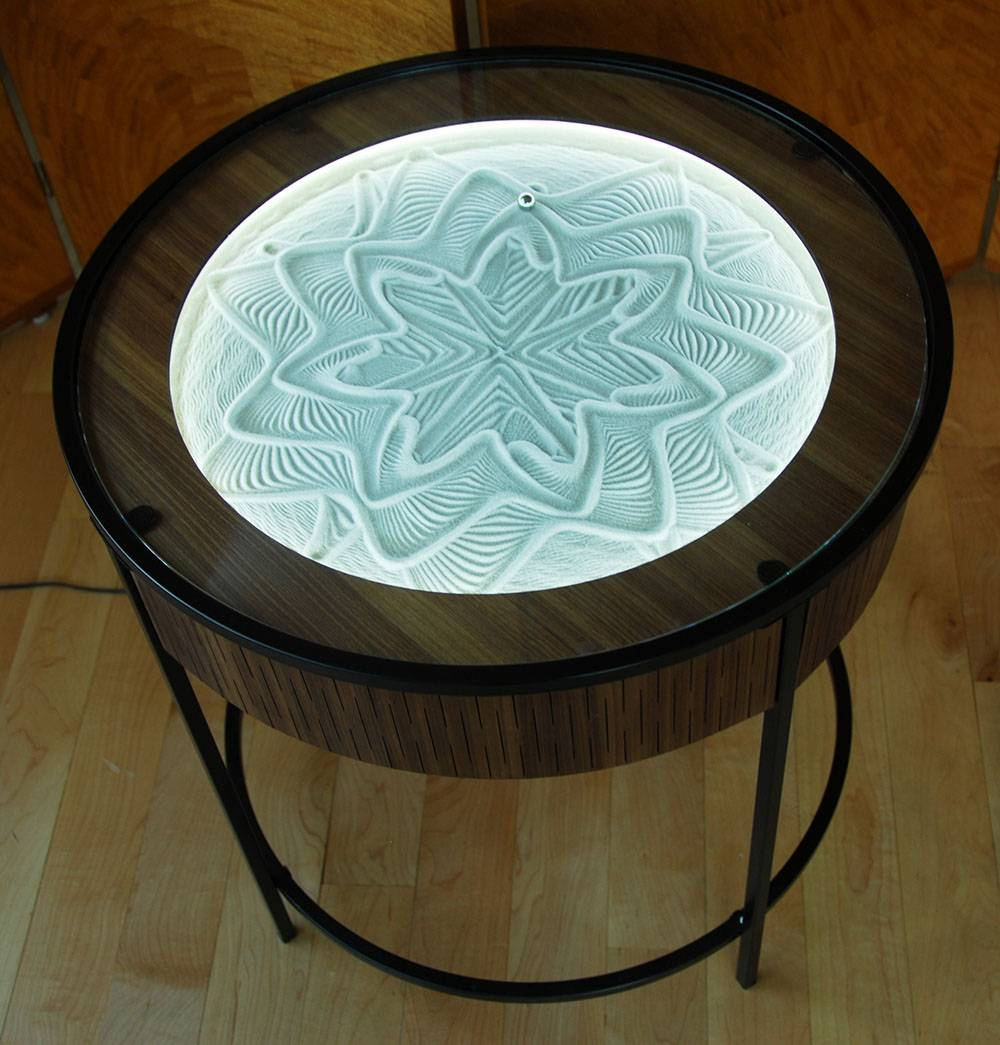 This Kinetic Coffee Table Uses A Small Ball To Draw Hypnotic pertaining to Swirl Glass Coffee Tables (Image 23 of 30)