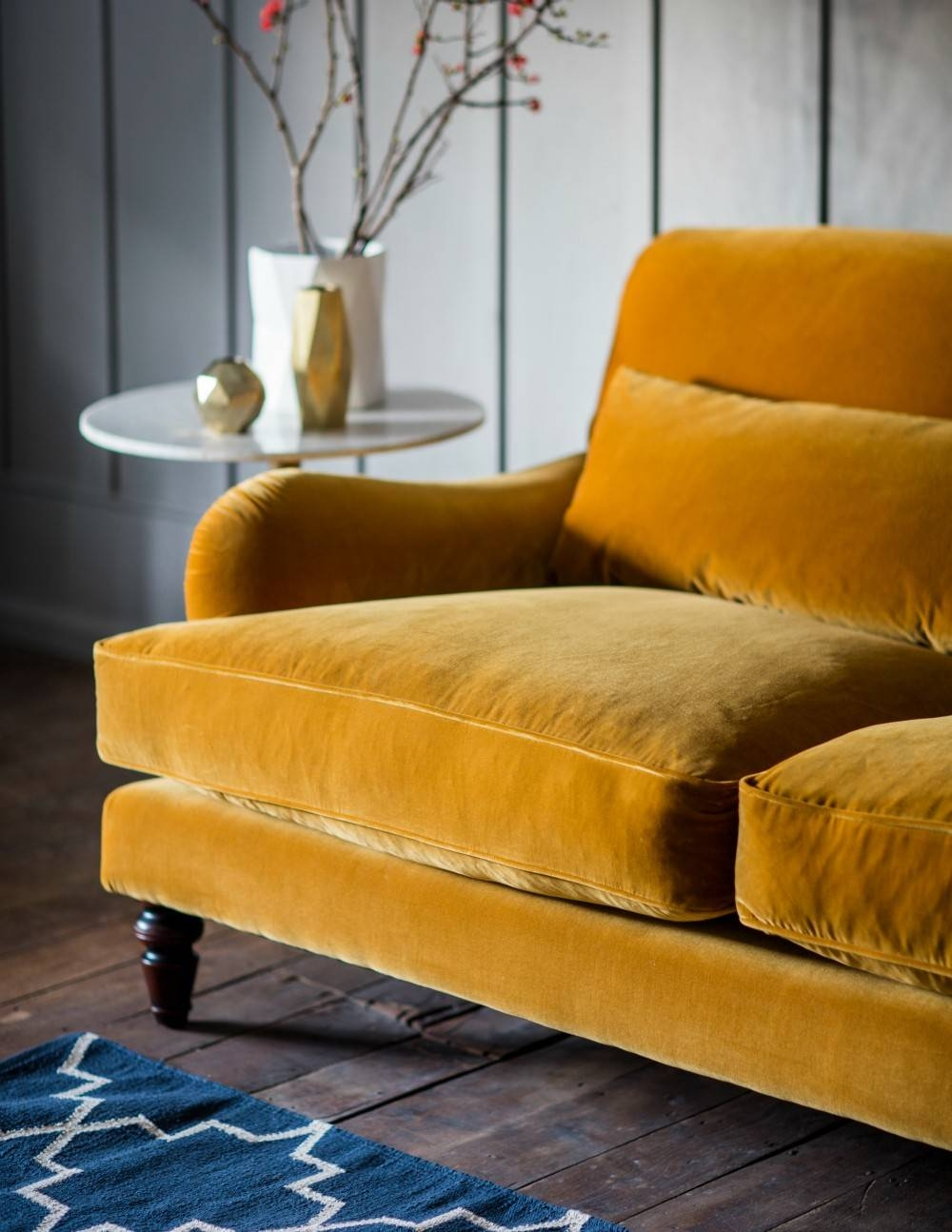 Three-Seater Or Two-Seater Velvet Sofa | Rose & Grey in Yellow Sofa Chairs (Image 26 of 30)