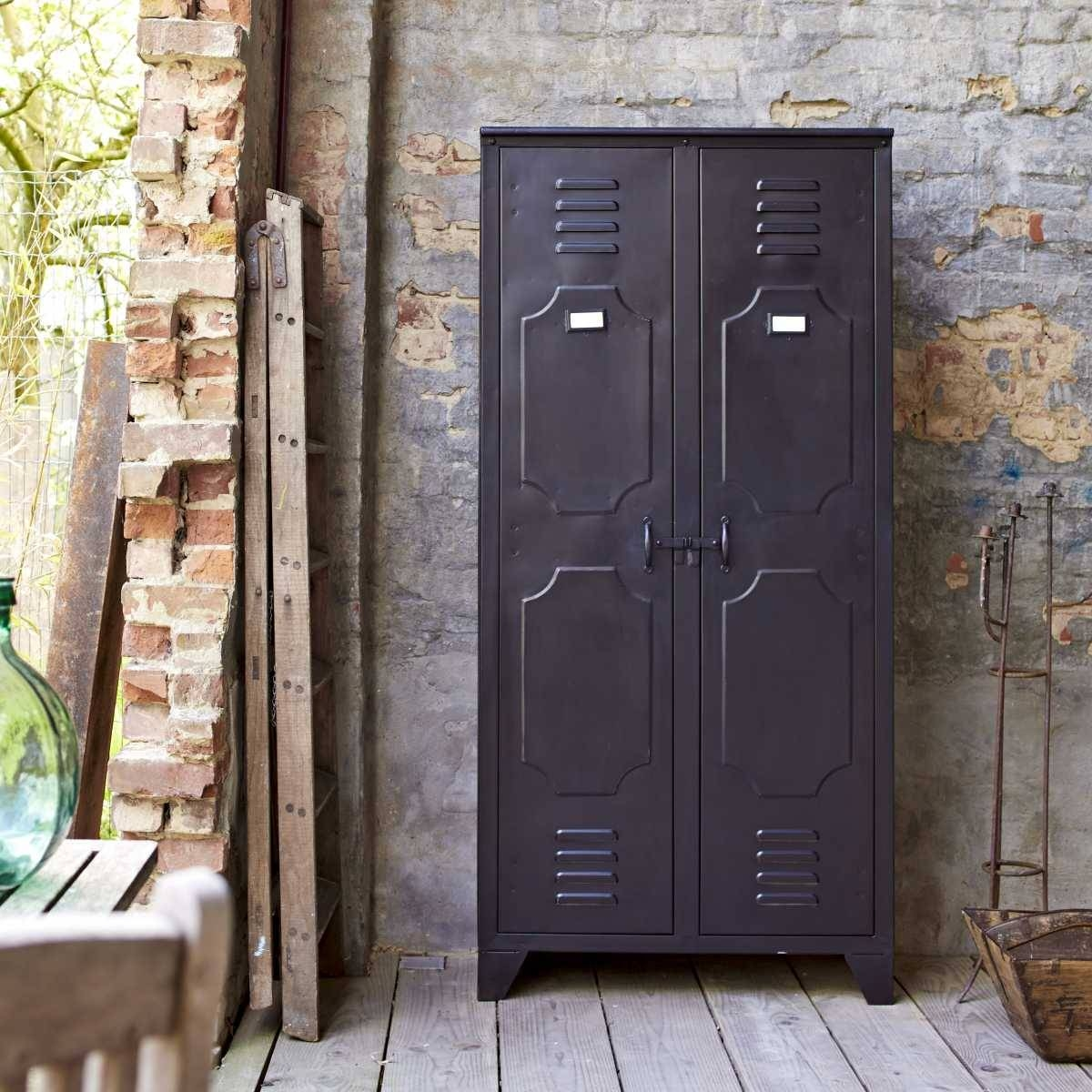 Tikamoon Industrial Style Metal Bedroom Wardrobe 2 Doors Storage pertaining to Industrial Style Wardrobes (Image 15 of 15)