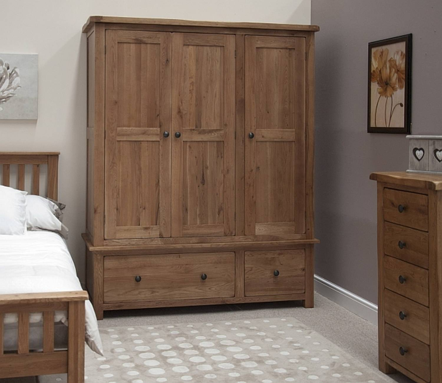 Tilson Solid Oak Bedroom Furniture Large Triple Wardrobe With for Triple Wardrobes With Drawers (Image 14 of 15)