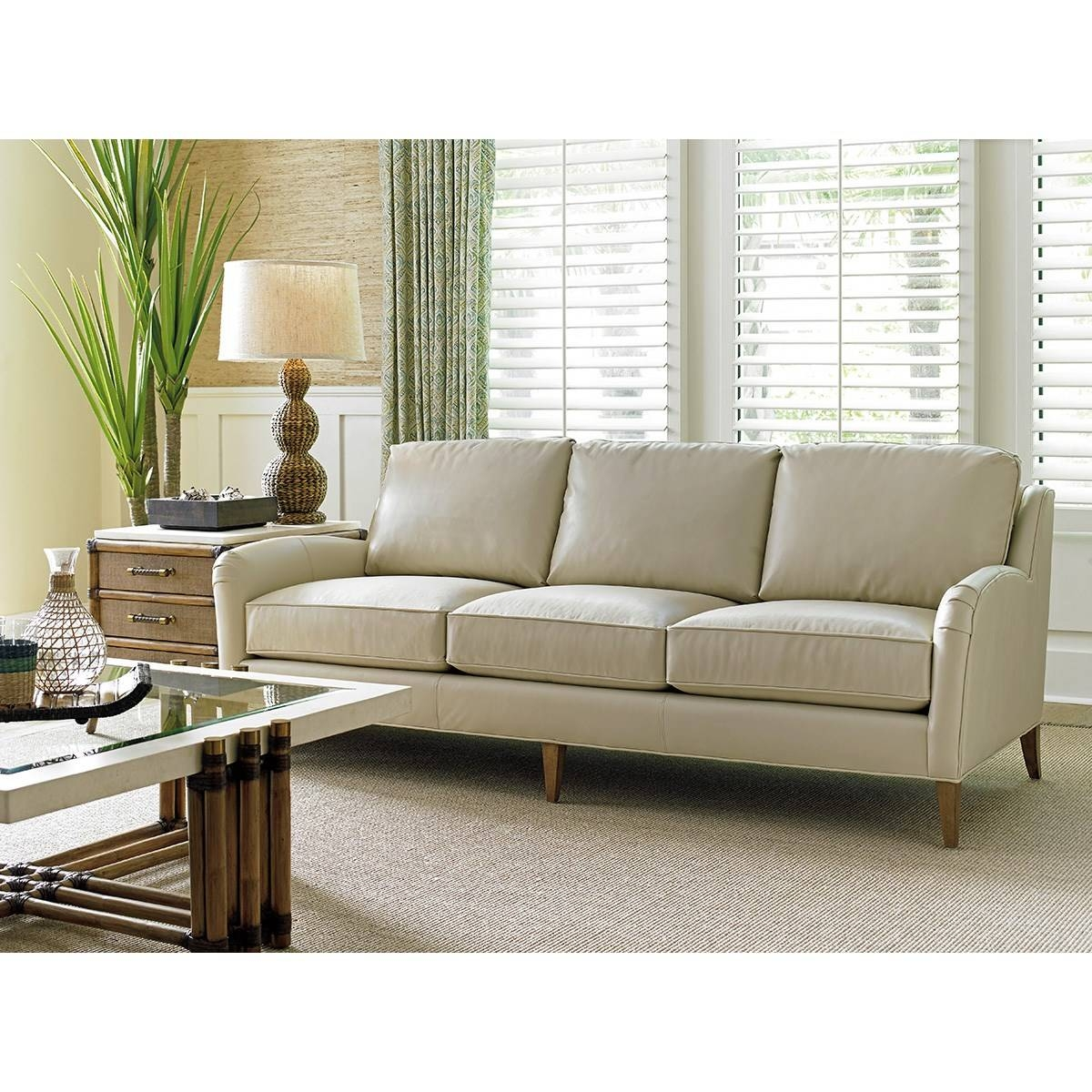 Tommy Bahama 01 Ll7287 33 52 Twin Palms Coconut Grove Leather Sofa Regarding Ivory Leather Sofas (View 27 of 30)