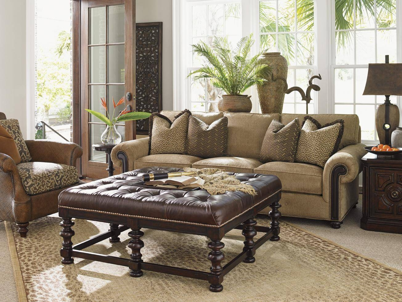 Tommy Bahama Home Kilimanjaro Heather Button Tufted Cocktail Intended For Animal Print Ottoman Coffee Tables (View 24 of 30)