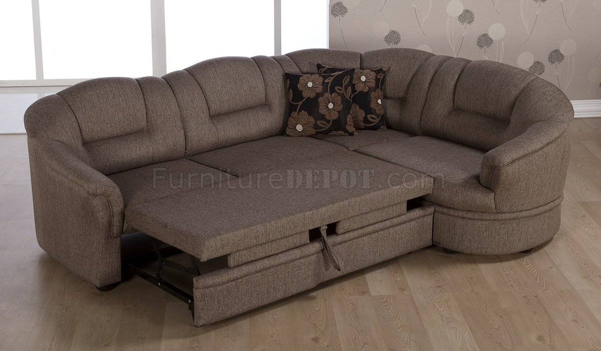 Tone Brown Fabric Convertible Sectional Sofa Bed W/storage intended for Convertible Sectional Sofas (Image 23 of 30)