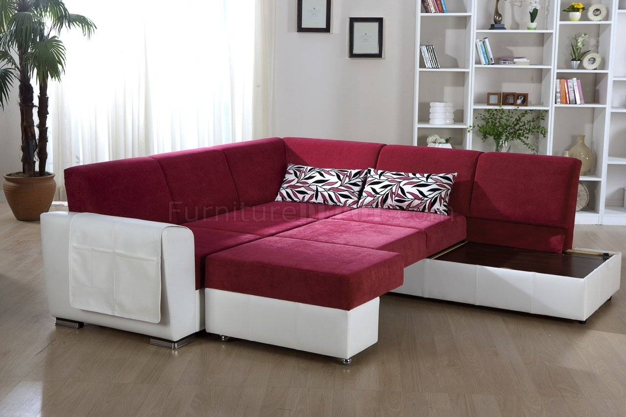 Tone Pink & White Convertible Sectional Sofa W/storage inside Convertible Sectional Sofas (Image 24 of 30)