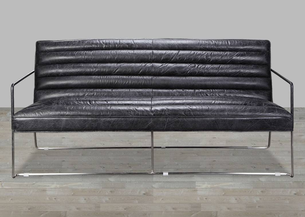 Top Grain Leather Black 2 Seater Sofa throughout Black 2 Seater Sofas (Image 29 of 30)